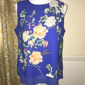 Rose + Olive blue floral tank